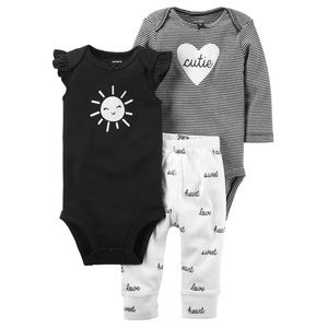 New Carters Baby Girl Clothes 3-Piece Set Black